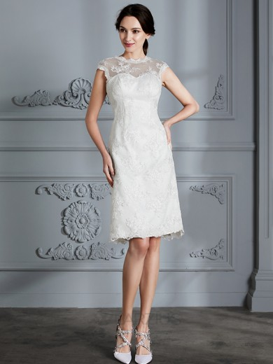 A-Line/Princess Sleeveless Scoop Knee-Length Satin Lace Wedding Dresses