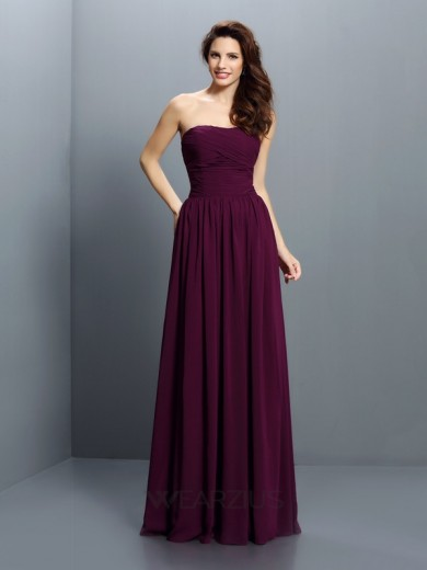 A-Line/Princess Strapless Sleeveless Chiffon Floor-Length Pleats Bridesmaid Dresses