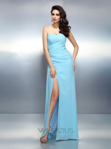 A-Line/Princess Sweetheart Sleeveless Pleats Chiffon Floor-Length Dresses