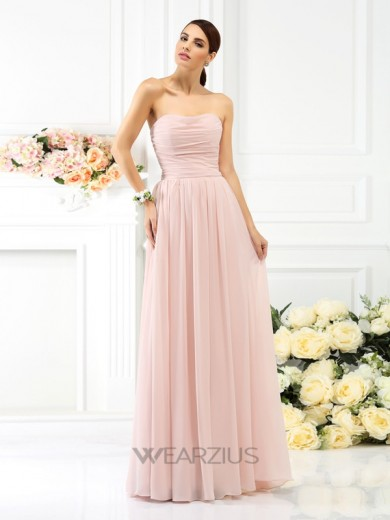 A-Line Strapless Sleeveless Pleats Chiffon Floor-Length Bridesmaid Dresses