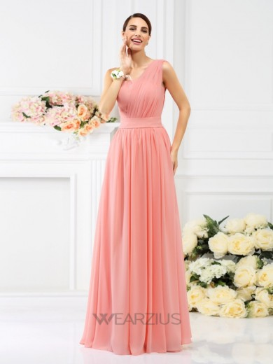 A-Line One-Shoulder Sleeveless Floor-Length Pleats Chiffon Bridesmaid Dresses