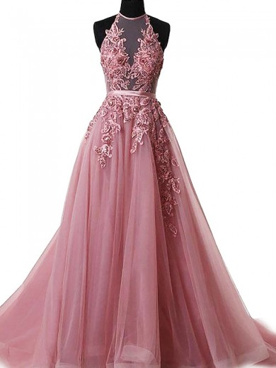 A-Line/Princess Halter Tulle Sweep/Brush Train Sleeveless Applique Dresses