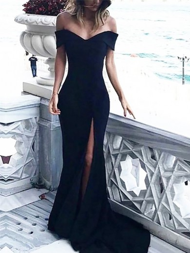 Sheath/Column Sleeveless Ruched Off-the-Shoulder Court Train Spandex Dresses