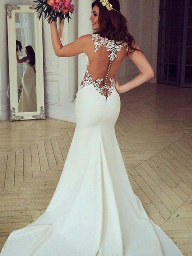 Trumpet/Mermaid Scoop Sleeveless Lace Applique Sweep/Brush Train Wedding Dress