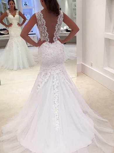 Trumpet/Mermaid V-neck Applique Sleeveless Lace Court Train Wedding Dress