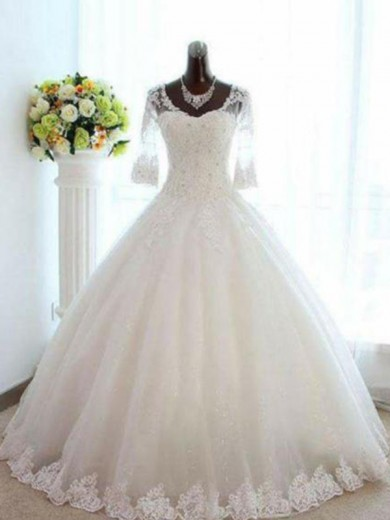 Ball Gown V-neck Tulle 3/4 Sleeves Bateau Floor-Length Beading Wedding Dress