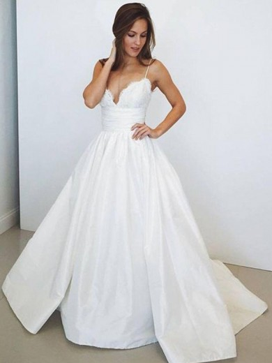Ball Gown Spaghetti Straps Sleeveless Ruched Satin Sweep/Brush Train Wedding Dress