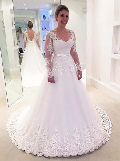 A-Line/Princess V-neck Lace Long Sleeves Tulle Sweep/Brush Train Applique Wedding Dress