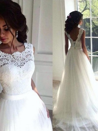 A-Line/Princess Lace Sash/Ribbon/Belt Sleeveless Tulle Bateau Sweep/Brush Train Wedding Dress