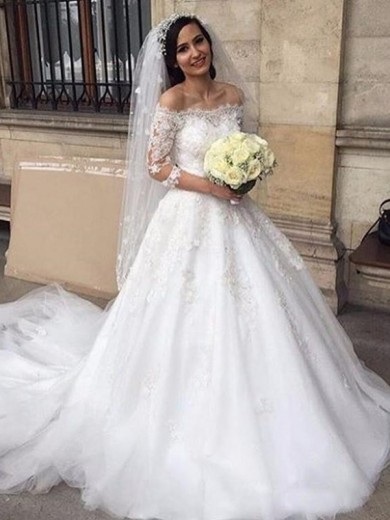 Ball Gown Off-the-Shoulder 3/4 Sleeves Tulle Chapel Train Applique Wedding Dress