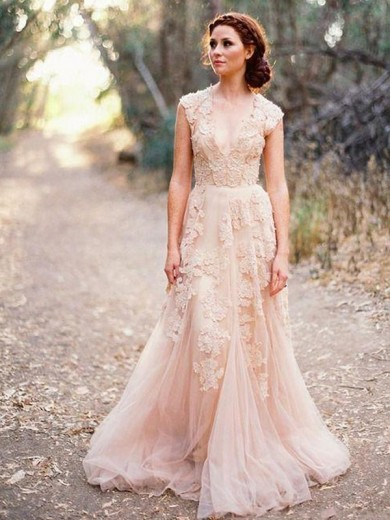 A-Line/Princess V-neck Sleeveless Sweep/Brush Train Tulle Applique Wedding Dress