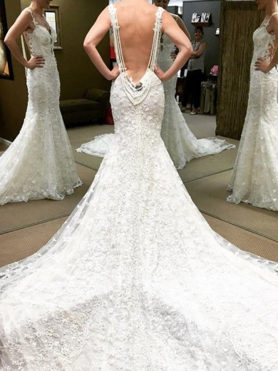 Ball Gown Short Off-the-Shoulder Sleeves Floor-Length Lace Wedding Dress