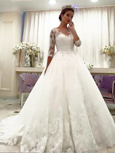 Ball Gown Tulle 3/4 Sleeves Bateau Lace Court Train Wedding Dress