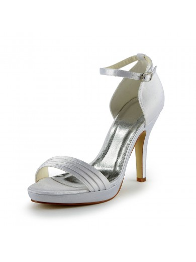 Women's Pretty Satin Stiletto Heel Sandals With Buckle Wedding Shoes