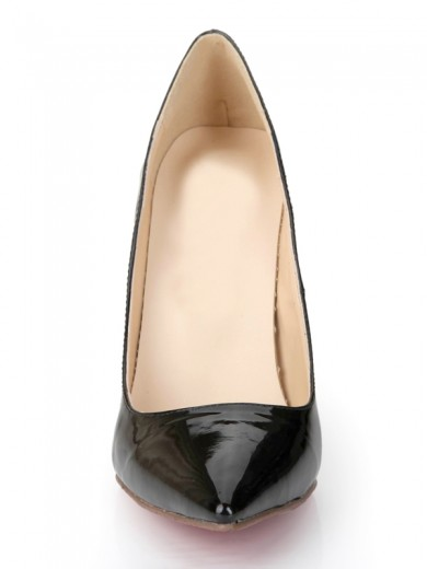 Women's Black Patent Leather Closed Toe Stiletto Heel Office Shoes
