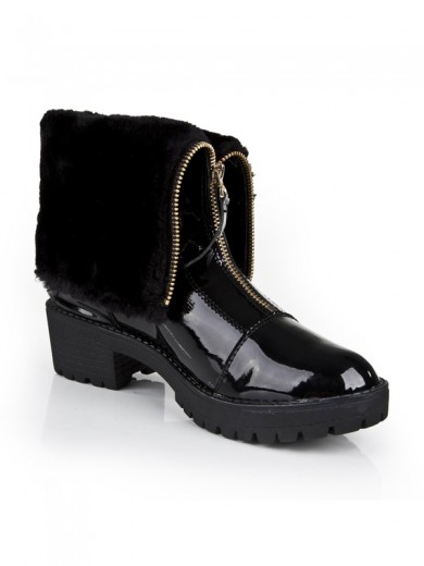 Women's Closed Toe Patent Leather Kitten Heel With Zipper Ankle Boots