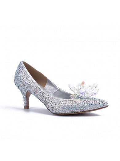 Women's Closed Toe Cone Heel With Crystal Flower Wedding Shoes