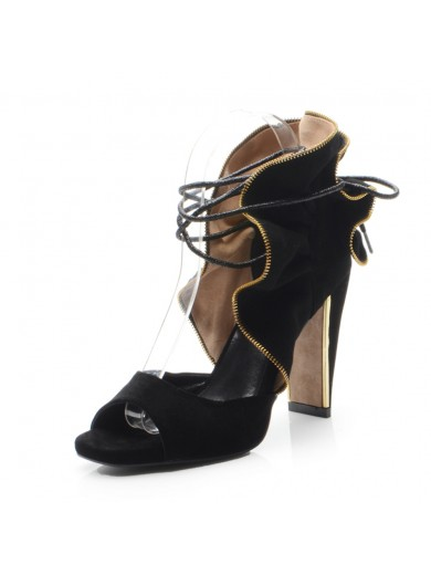 Women's Chunky Heel Suede Peep Toe With Lace-up Party Sandal Shoes