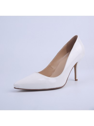 Women's Closed Toe Cone Heel Patent Leather Party Shoes