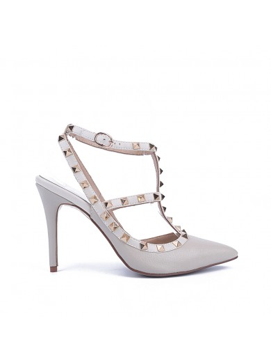 Women's Patent Leather Closed Toe Stiletto Heel With Rivet Sandal Shoes