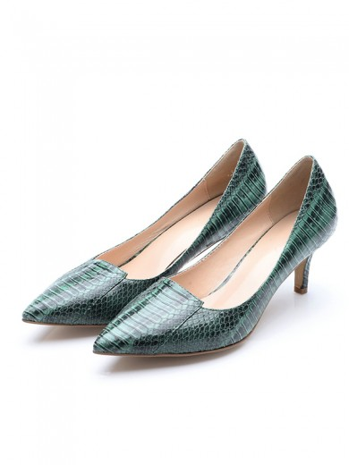 Women's Closed Toe Cone Heel Patent Leather With Crocodile Print Party Shoes