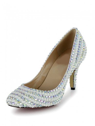 Women's Stiletto Heel Closed Toe Patent Leather With Rhinestone Wedding Shoes