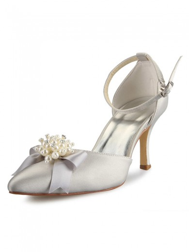 Women's Spool Heel Satin Closed Toe With Pearl Bowknot Wedding Shoes