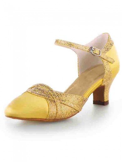 Women's Satin Closed Toe Chunky Heel With Sparkling Glitter Shoes