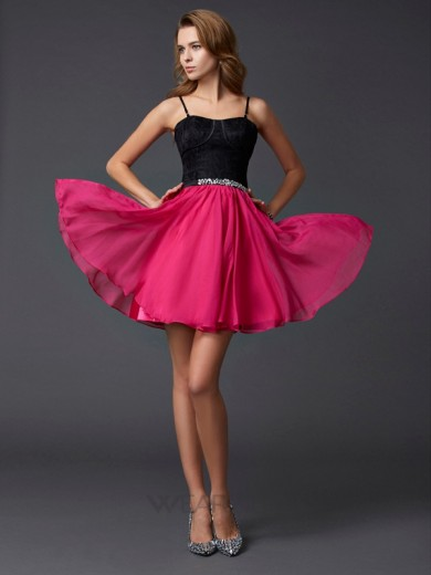 A-Line/Princess Sleeveless Chiffon Spaghetti Straps Short/Mini Dresses