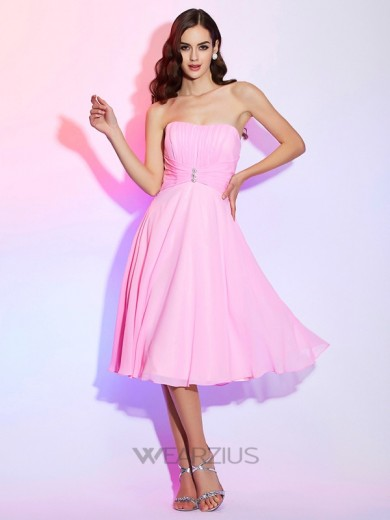 A-Line/Princess Strapless Sleeveless Chiffon Pleats Bridesmaid Dresses