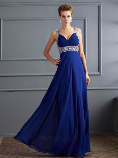 Sheath/Column Straps Sleeveless Floor-length Chiffon Beading Dresses