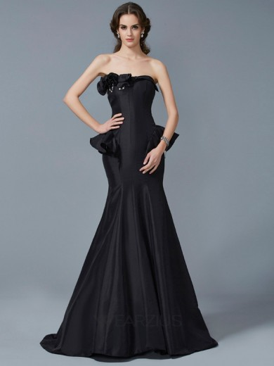 Trumpet/Mermaid Strapless Ruffles Sleeveless Sweep/Brush Train Taffeta Dresses