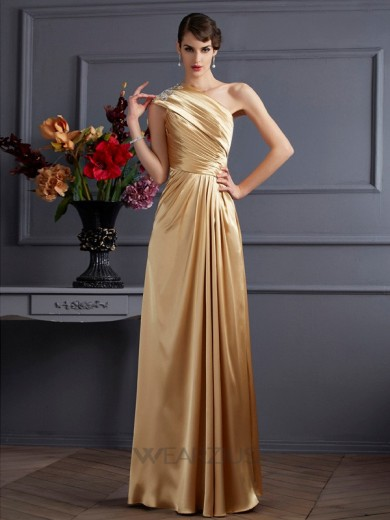 A-Line One-Shoulder Sleeveless Elastic Woven Satin Floor-Length Beading Dresses