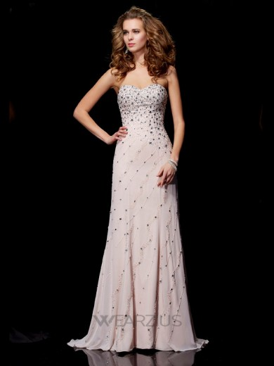 A-line/Princess Sweetheart Sleeveless Chiffon Sweep/Brush Train Beading Dresses