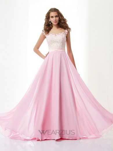 A-line/Princess Scoop Applique Chiffon Beading Sweep/Brush Train Dresses