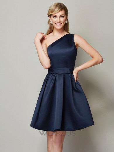A-Line/Princess One-Shoulder Sleeveless Satin Short/Mini Bridesmaid Dresses