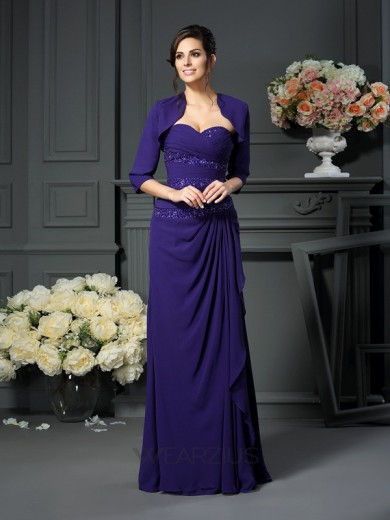 A-Line/Princess Sweetheart Sleeveless Floor-Length Beading Chiffon Mother of the Bride Dresses