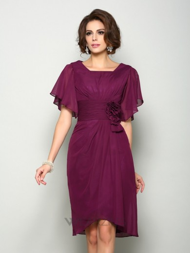 A-Line/Princess Short Sleeves Hand-Made Flower Square Chiffon Knee-Length Mother of the Bride Dresses