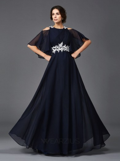 A-Line Straps 1/2 Sleeves Floor-Length Chiffon Applique Mother Of The Bride Dresses