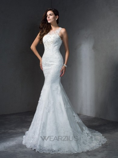 Trumpet/Mermaid Scoop Sleeveless Court Train Lace Applique Wedding Dresses
