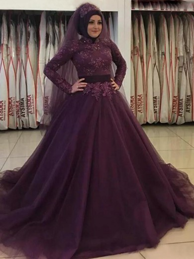 Ball Gown High Neck Long Sleeves Sweep/Brush Train Applique Tulle Muslim Dresses