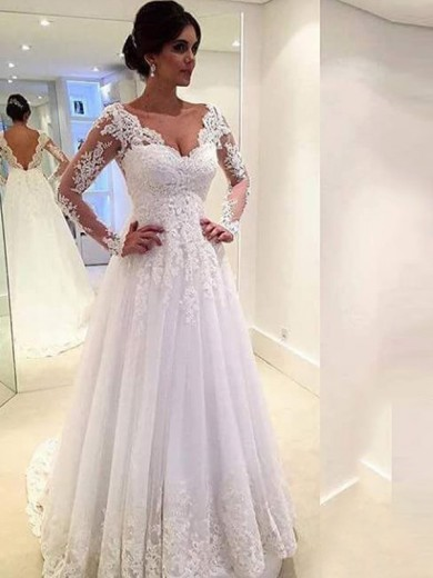 Ball Gown V-neck Long Sleeves Lace Tulle Sweep/Brush Train Wedding Dress