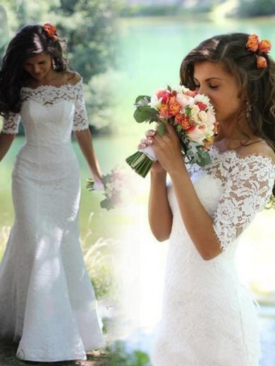 Trumpet/Mermaid Off-the-Shoulder 1/2 Sleeves Sweep/Brush Train Lace Wedding Dress