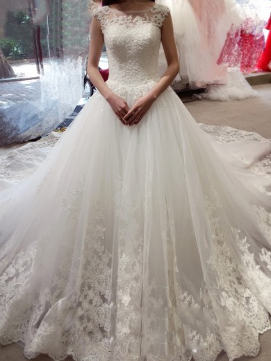 Ball Gown Sleeveless Bateau Tulle Applique Chapel Train Wedding Dresses