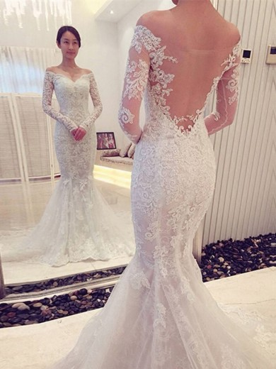 Mermaid Long Sleeves Off-the-Shoulder Lace Chapel Train Wedding Dresses