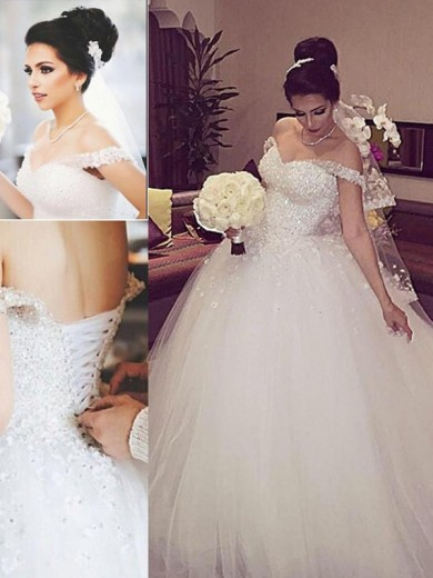 Ball Gown Off-the-Shoulder Sleeveless Court Train Tulle Lace Wedding Dress