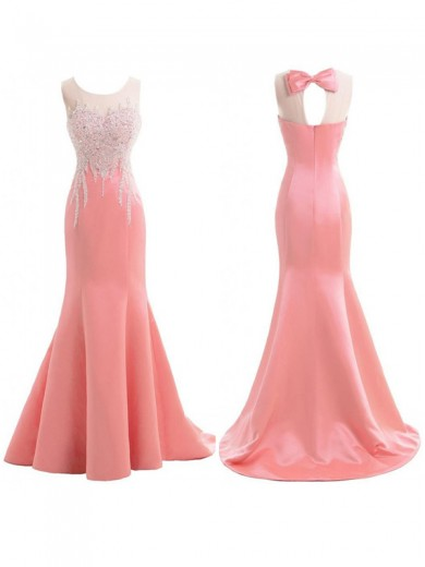 Trumpet/Mermaid Sleeveless Scoop Sweep/Brush Train Satin Beading Bridesmaid Dresses