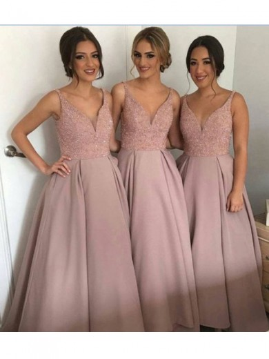 A-Line/Princess V-neck Floor-Length Sleeveless Taffeta Beading Bridesmaid Dresses