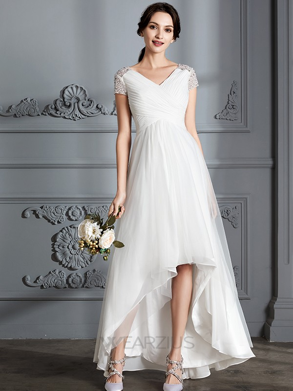 A-Line/Princess V-neck Short Sleeves Tulle Asymmetrical Wedding Dresses