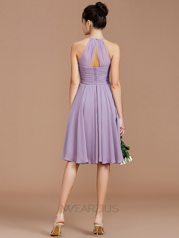 A-Line/Princess Sleeveless Halter Ruched Short/Mini Chiffon Bridesmaid Dresses